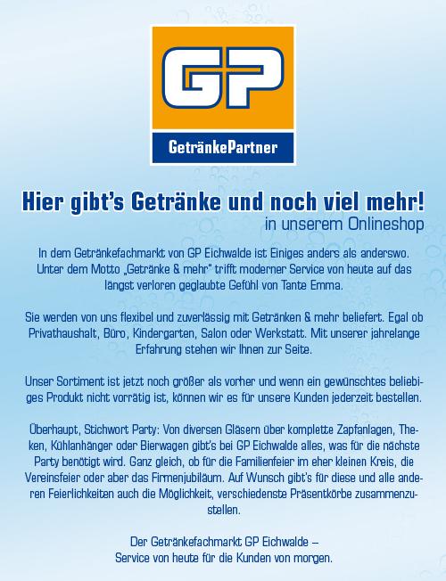 GP Eichwalde Eichwalde Getränkelieferant Berlin Treptow Schönefeld ...